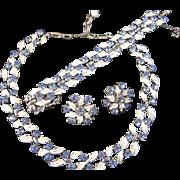 Vintage Coro Enamel & Rhinestone Necklace, Bracelet & Earring Parure