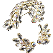 Weiss Spectacular Rhinestone Brooch and Earring Set