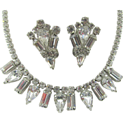 Weiss Crystal Rhinestone Necklace and Matching Earring Set