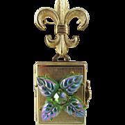 Coro Pegasus 1940s Love Locket Four Photo Art Glass Brooch