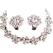 Vintage Weiss Crystal Rhinestone Bracelet and Earring Set