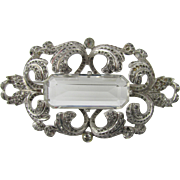 Large 1940s Ornate Rhinestone Brooch