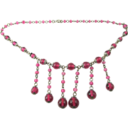 Czech Glass Beaded Fringe Bib Necklace
