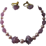 Signed Miriam Haskell Purple Art Glass and Pink Faux Pearl Necklace and Earring Set