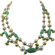 Schiaparelli Double Strand Green Glass and Faux Pearl Necklace