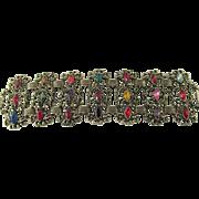 Mid-Century Chunky Multi-colored Rhinestone Bracelet
