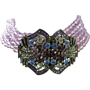 Signed Heidi Daus Swarovski Crystal Six Strand Collar Necklace