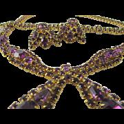 Vintage Hand Set Purple Rhinestone Parure