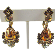 Hattie Carnegie Pear Drop Rootbeer Rhinestone  Earrings
