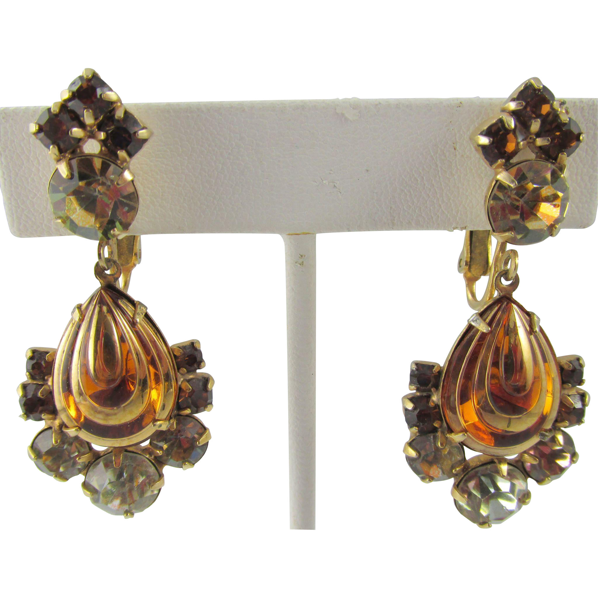 Hattie Carnegie Pear Drop Rootbeer Rhinestone Earrings ...