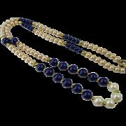 Vintage Lanvin Paris Faux Pearl and Lapis Blue Couture Necklace