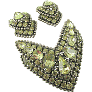 Kramer of New York Jonquil Rhinestone Brooch and Earrings