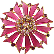 Vintage Signed Austrian Crystal Trapezoid Rhinestones Brooch
