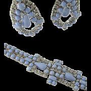Vintage Baby Blue Cabochon and Rhinestone Bracelet & Drop Earrings