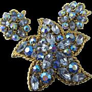 Signed Regency Starfish Rhinestone Brooch and Earring Set