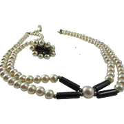 Vintage Miriam Haskell Niki Imitation Glass Pearl Necklace and Earring