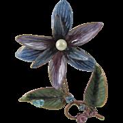 """1940s Enamel on Copper 4"""" Floral Trembler Brooch"""