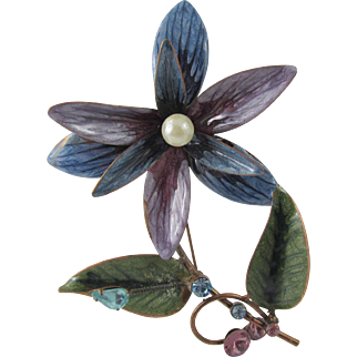 "1940s Enamel on Copper 4"" Floral Trembler Brooch"