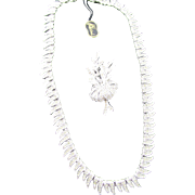Signed Polcini Elegant Pave Rhinestone Rhodium Necklace and Brooch Set