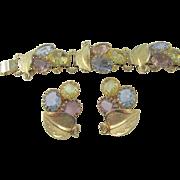 Statement Open Back Pastel Rhinestone Bookchain Bracelet and Clip Earrings