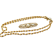 Miriam Haskell Russian Twisted Gold and Faux Pearl Necklace and Filigree Bar Pin