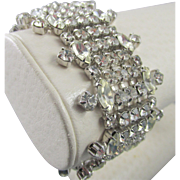 Weiss Thick Five Row Rhodium Plated Rhinestone Bracelet