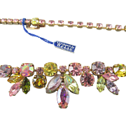 Gorgeous Weiss Pastel Rhinestone Necklace and Bracelet Original Tags