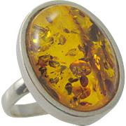 Vintage Sterling Baltic Amber Cabochon Ring