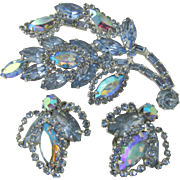 Stunning Weiss Blue AB Brooch and Earring Set