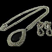 Vintage Signed Hobe Teardrop Rhinestone Necklace and Drop Earrings