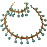 Vintage Glass Beaded Faux Turquoise Dangle Necklace and Bracelet