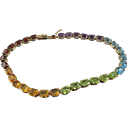 Estate Rainbow Multi-Gemstone Tennis 8 in. Bracelet: 14K 12 CTW