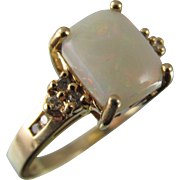 Estate Australian Rectangular Opal and Diamond Yellow Gold Ring