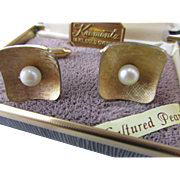 Krementz 14K Gold Overlay Cultured Pearl Cufflinks in Original Box