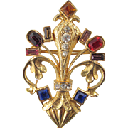 Ornate Fleur-d-Lis Gold plated Rhinestone Brooch from France