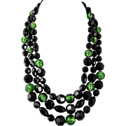 French Triple Strand Faceted Jet and Art Glass Necklace Ornate Beaded Clasp