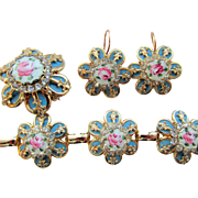 Exquisite Turquoise and Guilloche Rose Enamel Parure