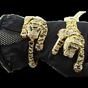 Tiger Rhinestone and Enamel Bracelet and Over the Shoulder 8 inch Brooch Set