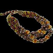 Signed Schiaparelli Triple Strand Art Glass Beaded Couture Necklace