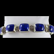 Taxco Mexico 925 Lapis Lazuli Linked Bracelet 54 Grams