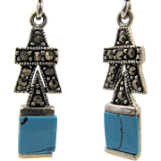Vintage Art Deco Style Sterling Silver Marcasite and Turquoise Drop Earrings