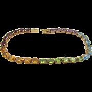 Estate Rainbow Multi-Gemstone Tennis 7 in. Bracelet 14k Gold