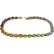 Estate Rainbow Multi-Gemstone Tennis 7 in. Bracelet 14k Gold