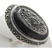 Vintage Sterling Art Deco Marcasite Onyx Oval Ring Size 5.5