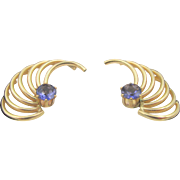 14k Gold Tanzanite Stud Winged Jacket Earrings