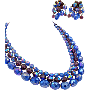 Signed Hattie Carnegie Iridescent Purple and Blue Glass Beaded Necklace and Earrings