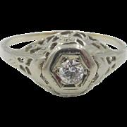 Vintage Art Deco 18K White Gold .22ct Genuine Diamond Filigree Ring