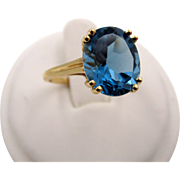 Estate London Blue Topaz 4.6 ctw 10k yellow gold ring