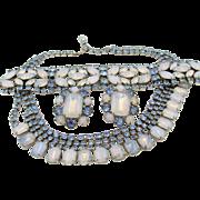 Gorgeous Blue Opalescent Rhinestone Parure Rhodium Plated Set