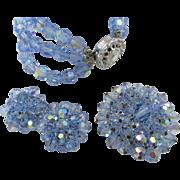 Light Blue Sparkling Glass Beaded Bracelet, Brooch and Earring Set